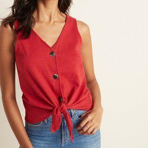 Old Navy Cropped Tie-Hem Textured-Knit Sleeveless Top Red Buttondown V-Neck XL